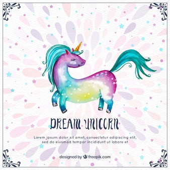 Pretty watercolor colorful unicorn background