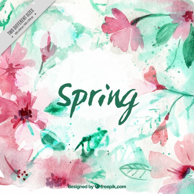 Pretty watercolor flowers background