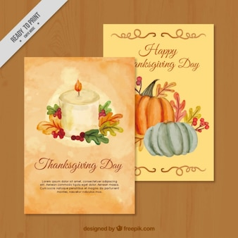 Pretty watercolor greeting cards of thanksgiving