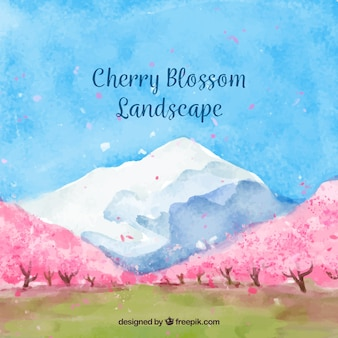 Pretty watercolor landscape with cherry trees