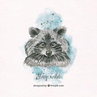 Pretty watercolor raccoon