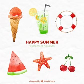 Pretty watercolor summer objects