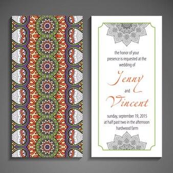 Pretty wedding card with ornamental forms