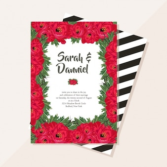 Pretty wedding card with red flowers