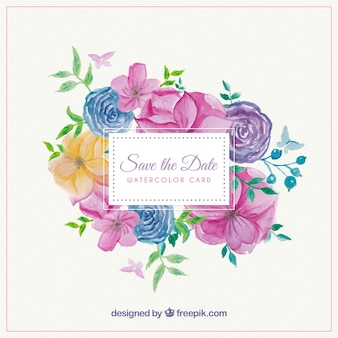Pretty wedding invitation card with colored flowers