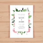 Pretty wedding invitation with pink flowers