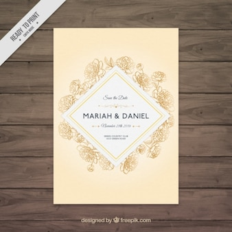 Pretty wedding invitation with sketches of roses