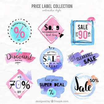 Price labels collection in watercolor style