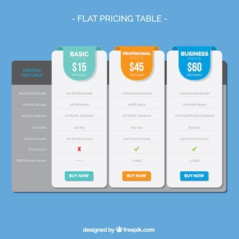 Pricing table with several options