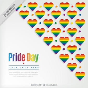 Pride background with colorful hearts