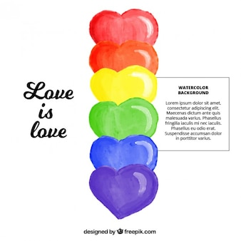 Pride background with colorful watercolor hearts