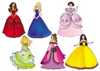 princess cartoon character vector pack