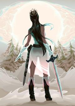 姫の戦士の木ベクトルのファンタジーイラスト