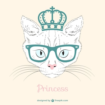 Princess white cat with a crown and glasses