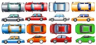 多くの色のプライベートカーのイラスト