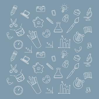 Profession icons hand drawing vector pattern background