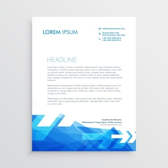 Professional brochure with arrows and geometric shapes