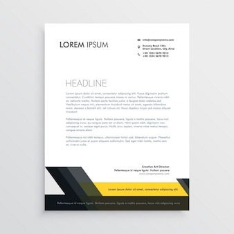 Professional brochure with black and yellow geometric shapes