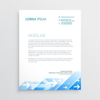 Professional brochure with blue geometric shapes and arrows