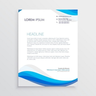 Professional brochure with blue wavy shapes