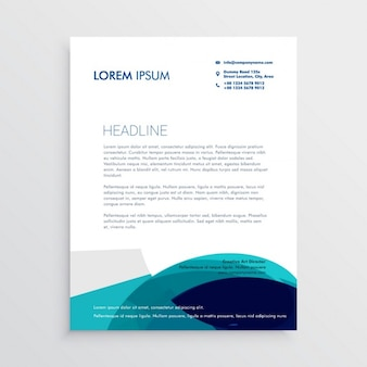 Professional brochure with turquoise wavy shapes