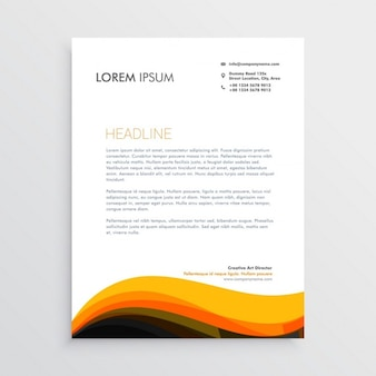 Professional brochure with wavy orange shapes