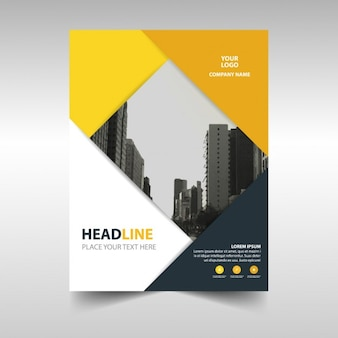Professional brochure with yellow and black shapes