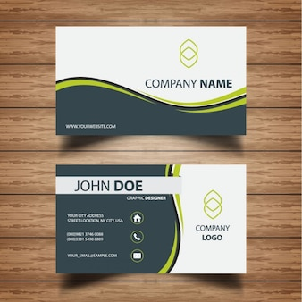 Professional business card with green waves