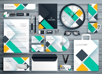 Professional business stationery template vector design