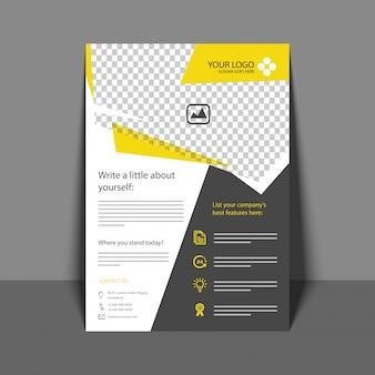 プロフェッショナルフライヤー(黄色と灰色)、コーポレートパンフレット、年次報告書、およびあなたのビジネスのためのカバーデザインテンプレート。