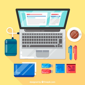 Professional workspace with flat design