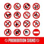 Prohibition signs set