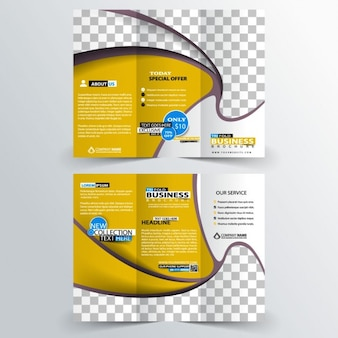 Promotional business trifold in yellow color