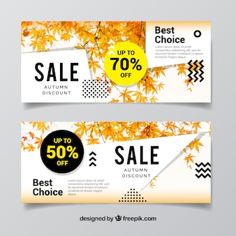 Promotions banners for autumn, modern style