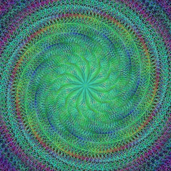 Psychedelic green background with a spiral