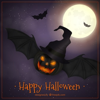 Pumpkin background with bat wings and witch hat