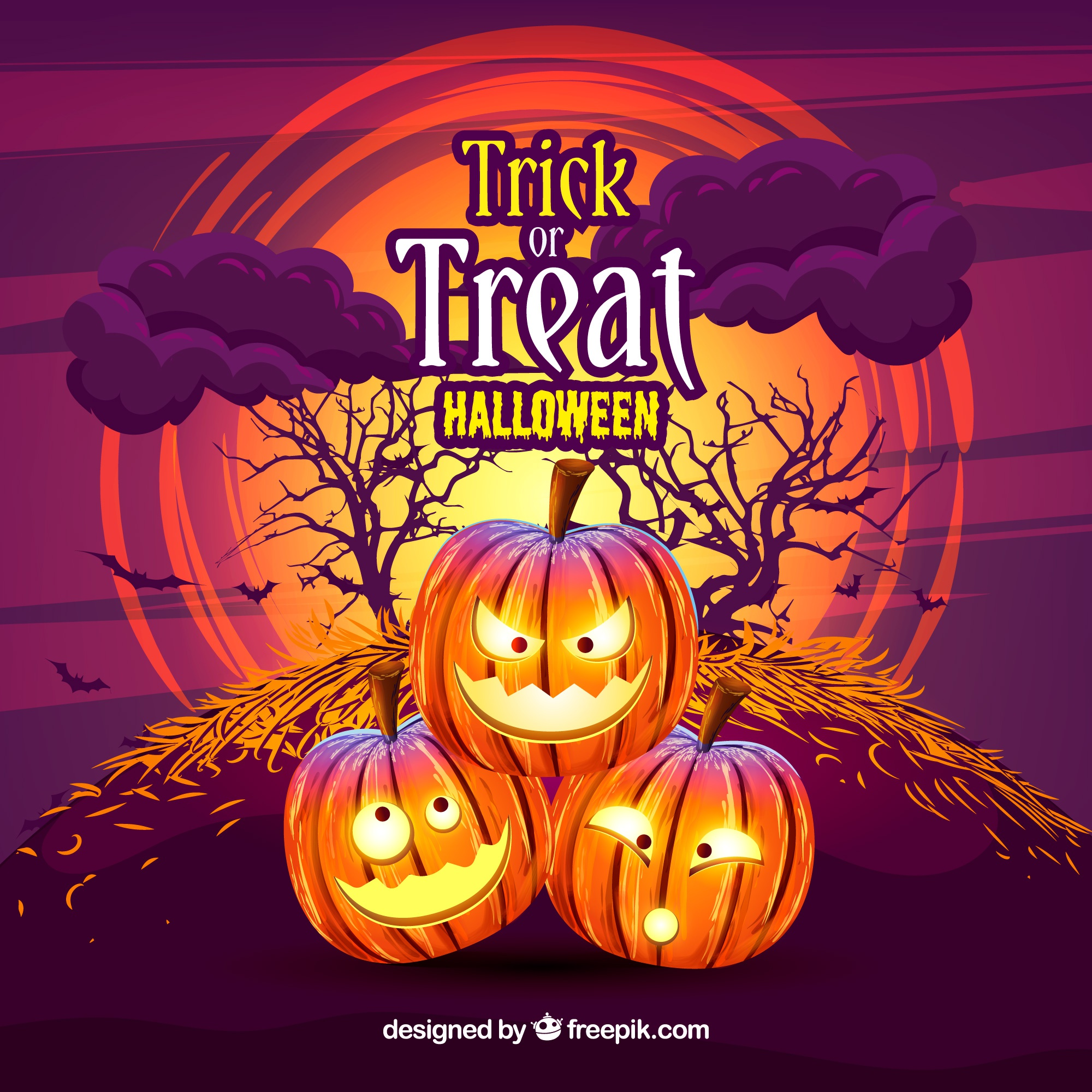Pumpkin background with trick or treat message