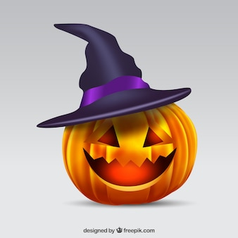 Pumpkin background with witch hat