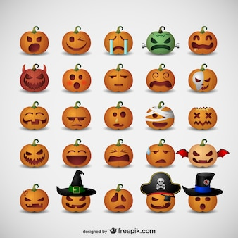 Pumpkin emoticons for Halloween