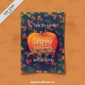 Pumpkin halloween card with watercolor leaves