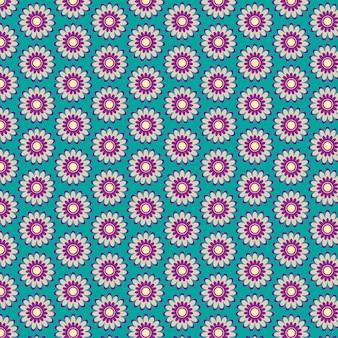 アクアマリンの背景を持つ紫の花のパターン