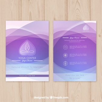 Purple abstract waves yoga center brochure