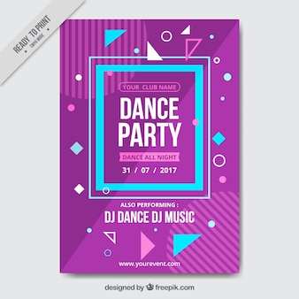 Purple and blue party brochure