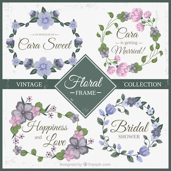 Purple and pink floral frame vintage collection
