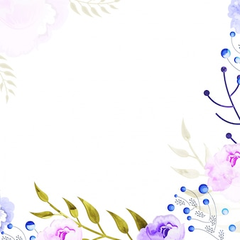 Purple and pink watercolor flowers decorated background.