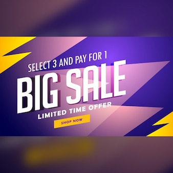 Purple and yellow discount banner