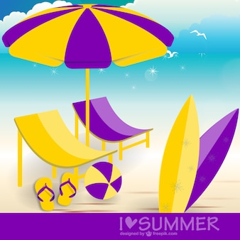Purple and yellow hammocks in the sea shore