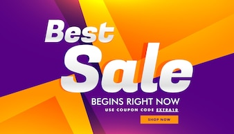 Purple and yellow polygonal discount voucher