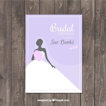 Purple bachelorette invitation with wedding dress