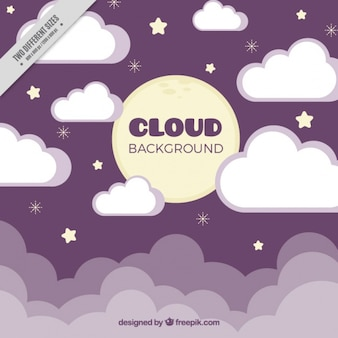 Purple background of clouds in flat design